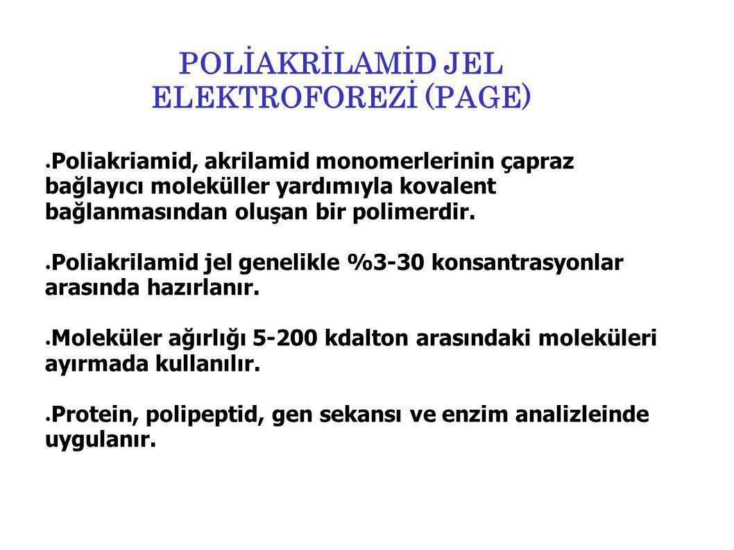 POLİAKRİLAMİD JEL ELEKTROFOREZİ (PAGE) ● Poliakriamid, akrilamid monomerlerinin çapraz bağlayıcı moleküller yardımıyla kovalent bağlanmasından oluşan