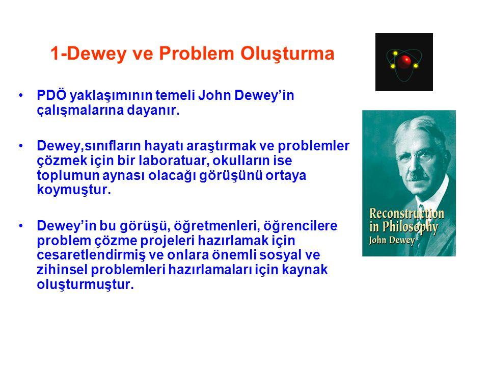 1-Dewey ve Problem Oluşturma PDÖ yaklaşımının temeli John Dewey'in çalışmalarına dayanır. Dewey,sınıfların hayatı araştırmak ve problemler çözmek için
