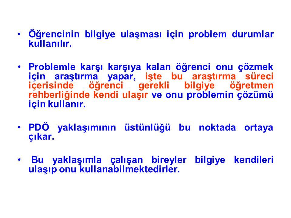 Öğrencinin bilgiye ulaşması için problem durumlar kullanılır. Problemle karşı karşıya kalan öğrenci onu çözmek için araştırma yapar, işte bu araştırma
