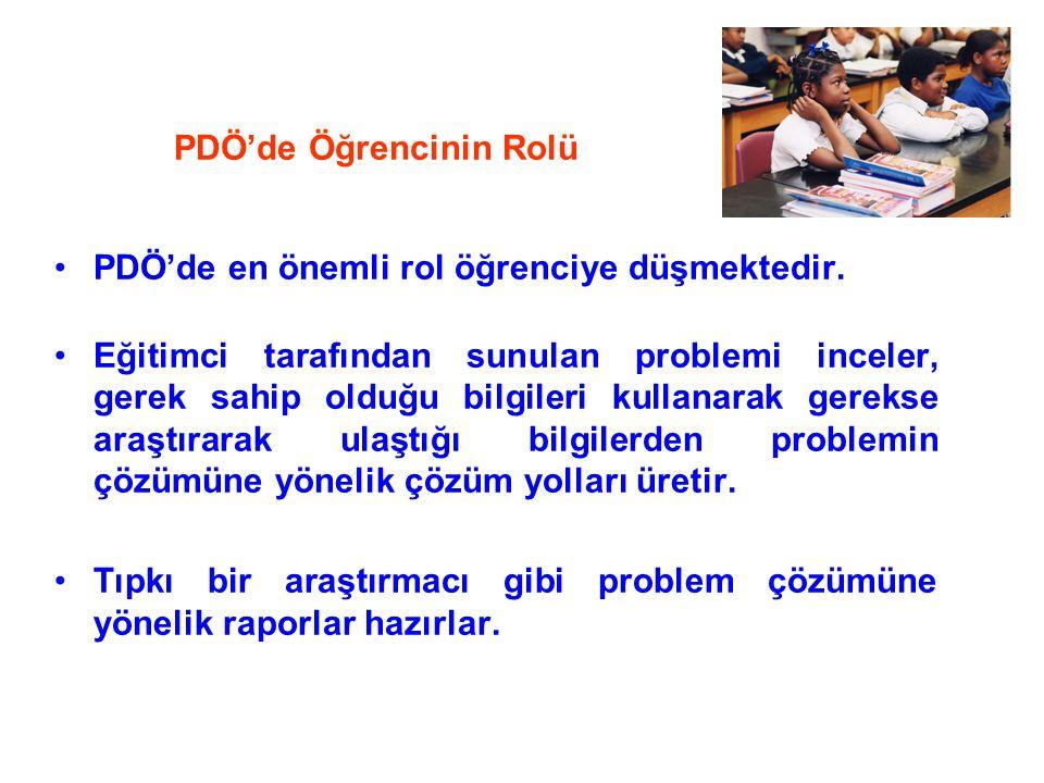 PDÖ'de Öğrencinin Rolü PDÖ'de en önemli rol öğrenciye düşmektedir. Eğitimci tarafından sunulan problemi inceler, gerek sahip olduğu bilgileri kullanar