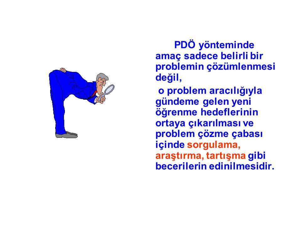 PDÖ yönteminde amaç sadece belirli bir problemin çözümlenmesi değil, o problem aracılığıyla gündeme gelen yeni öğrenme hedeflerinin ortaya çıkarılması