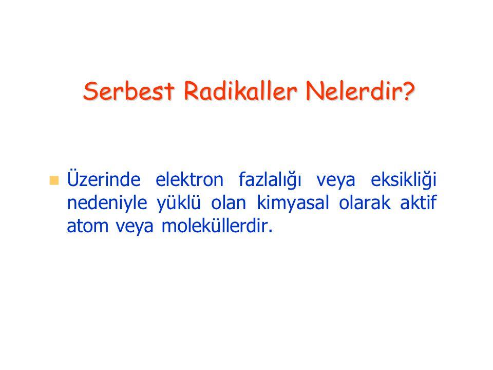 Serbest Radikaller Nelerdir? Üzerinde elektron fazlalığı veya eksikliği nedeniyle yüklü olan kimyasal olarak aktif atom veya moleküllerdir.