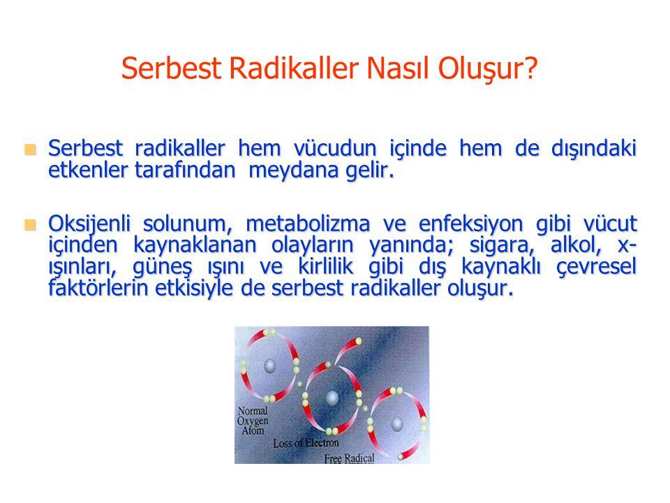 Serbest Radikaller Nasıl Oluşur? Serbest radikaller hem vücudun içinde hem de dışındaki etkenler tarafından meydana gelir. Serbest radikaller hem vücu