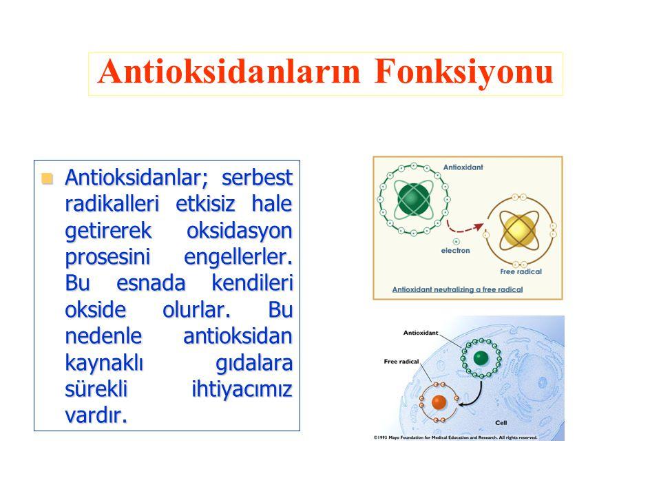 Antioksidanlar; serbest radikalleri etkisiz hale getirerek oksidasyon prosesini engellerler. Bu esnada kendileri okside olurlar. Bu nedenle antioksida