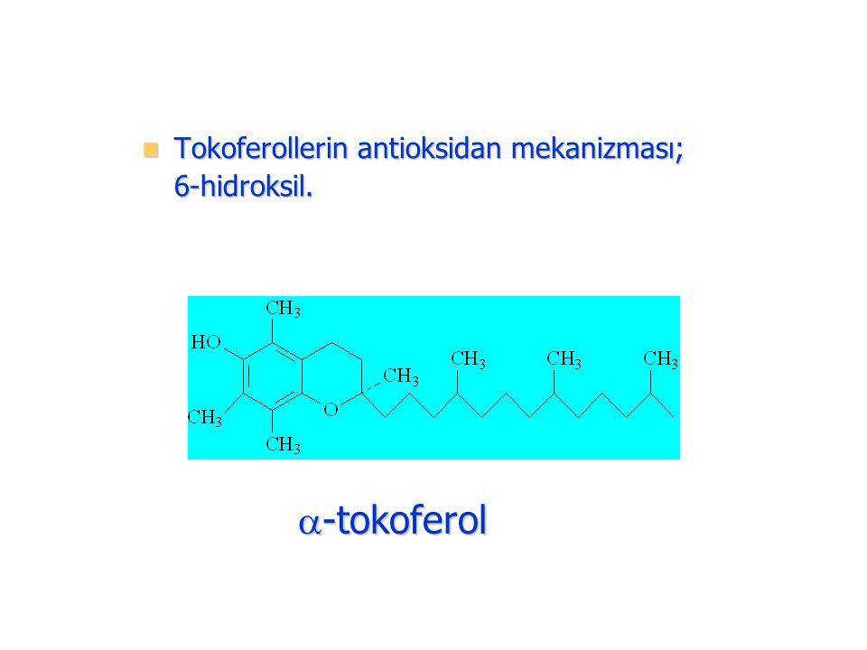 Tokoferollerin antioksidan mekanizması; Tokoferollerin antioksidan mekanizması;6-hidroksil.  -tokoferol