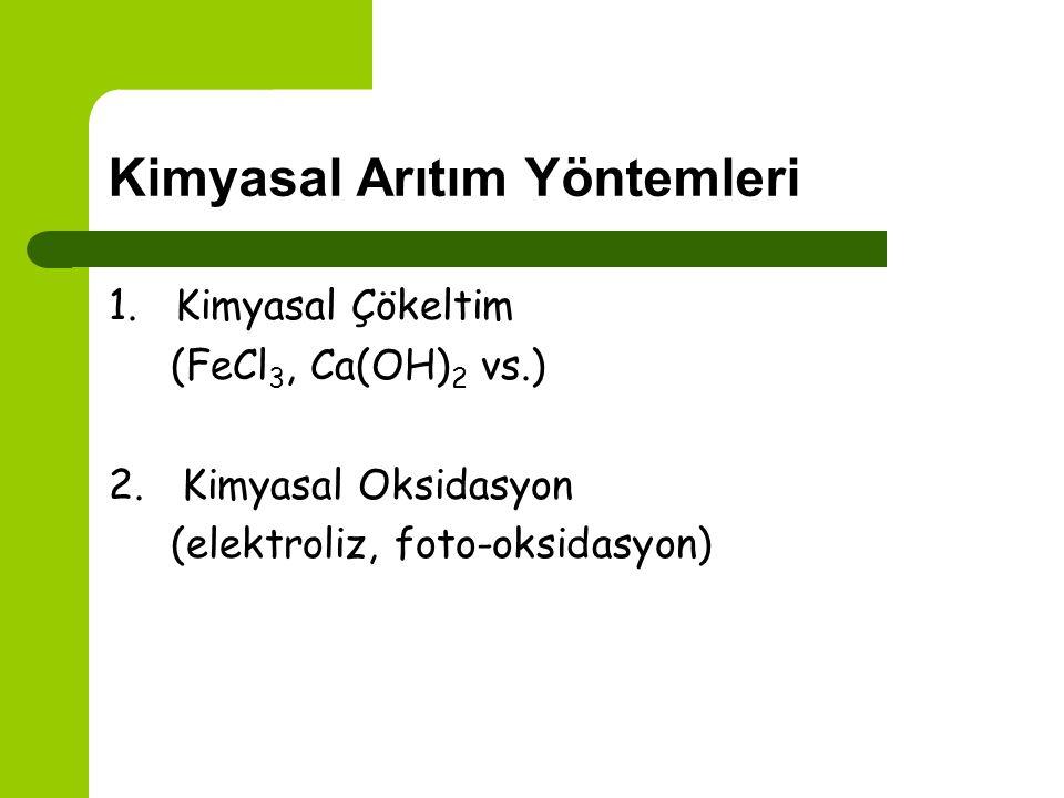 Fiziksel Arıtım Yöntemleri 1. Santrifüj 2. Çökelme 3. Filtrasyon 4. Membran filtrasyonu 5. Adsorpsiyon (aktif karbon, doğal adsorbanlar) 6. Buharlaştı