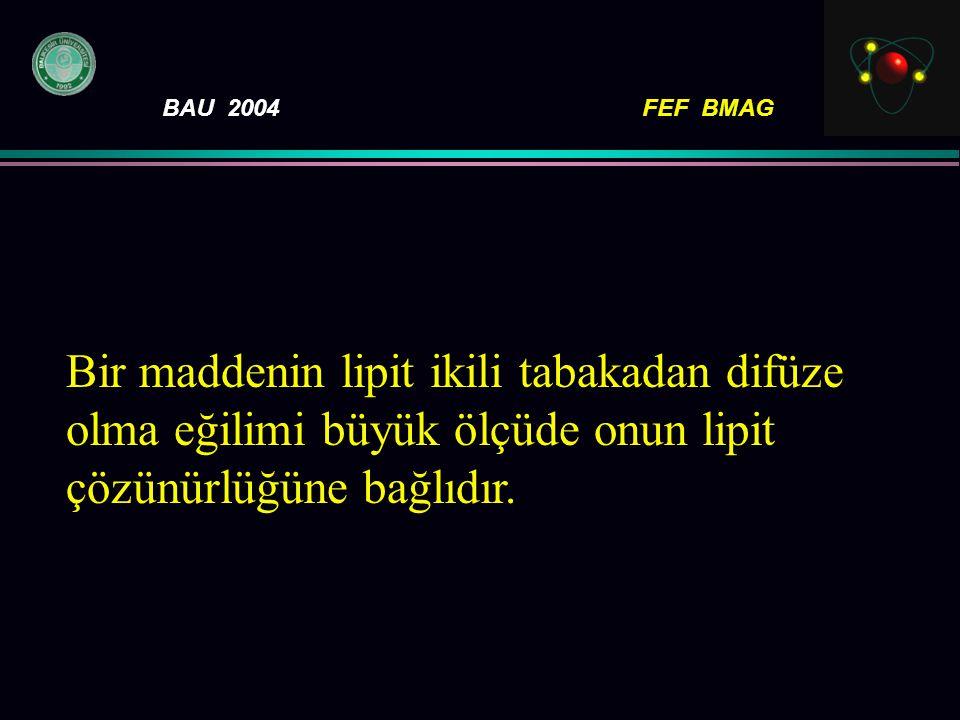 BAU 2004FEF BMAG Bir maddenin lipit ikili tabakadan difüze olma eğilimi büyük ölçüde onun lipit çözünürlüğüne bağlıdır.