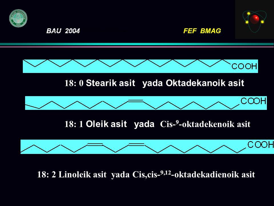 BAU 2004FEF BMAG SembolKlasik adı Sistematik AdıFormülü 14: 0Miristik asit Tetradekanoik asit 16: 0Palmitik asit Hekzadekanoik asit 18: 0Stearik asit