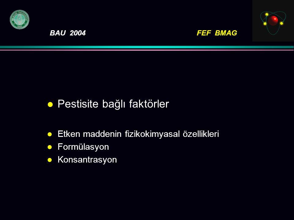 BAU 2004FEF BMAG l Pestisite bağlı faktörler l Etken maddenin fizikokimyasal özellikleri l Formülasyon l Konsantrasyon