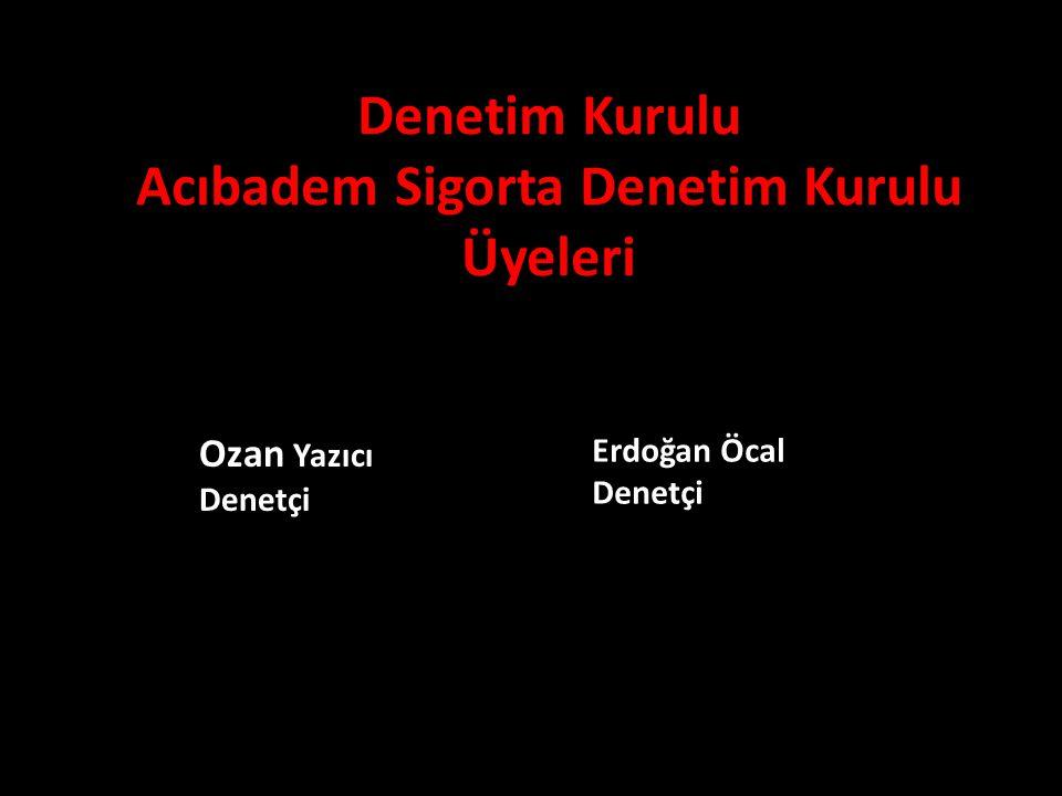 Denetim Kurulu Acıbadem Sigorta Denetim Kurulu Üyeleri Ozan Yazıcı Denetçi Erdoğan Öcal Denetçi