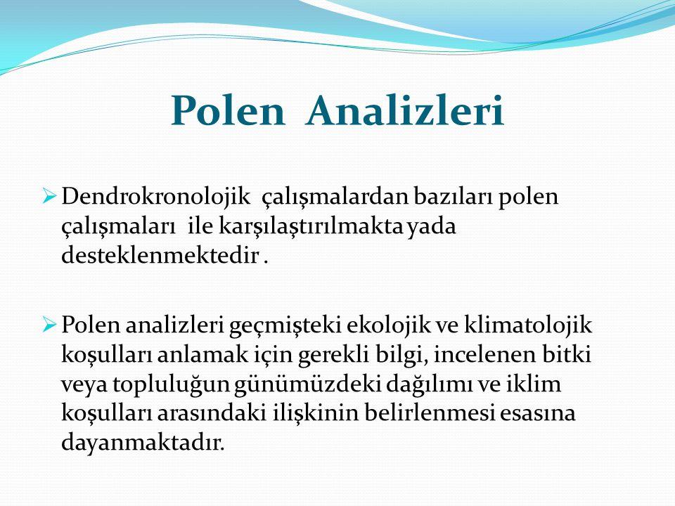 Polen Analizleri  Dendrokronolojik çalışmalardan bazıları polen çalışmaları ile karşılaştırılmakta yada desteklenmektedir.  Polen analizleri geçmişt