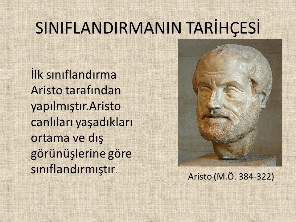 SINIFLANDIRMANIN TARİHÇESİ İlk sınıflandırma Aristo tarafından yapılmıştır.Aristo canlıları yaşadıkları ortama ve dış görünüşlerine göre sınıflandırmı