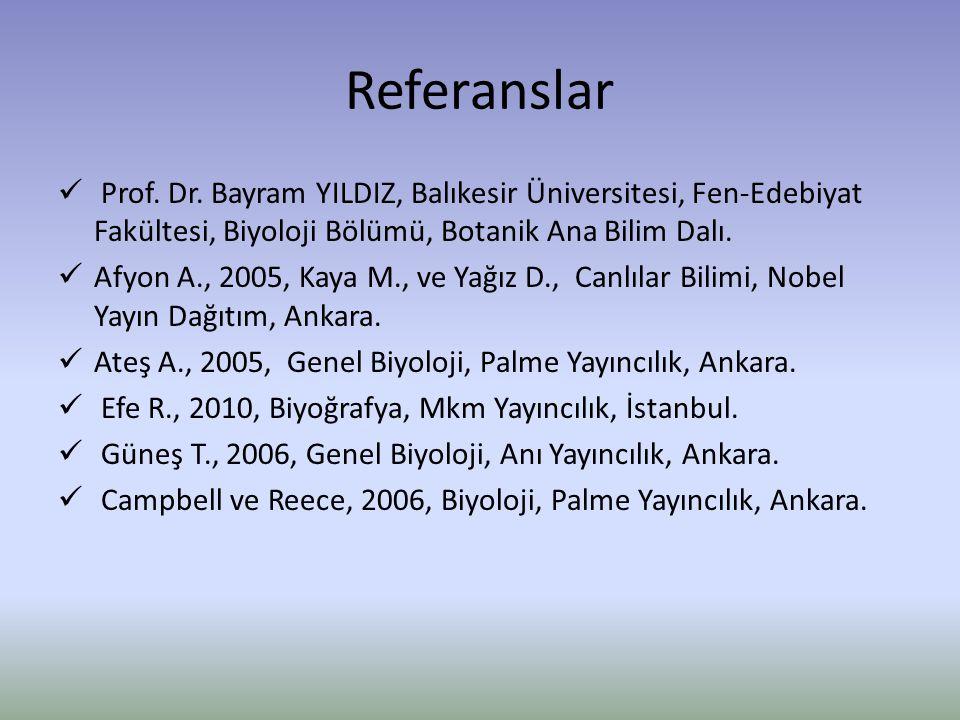 Referanslar Prof. Dr. Bayram YILDIZ, Balıkesir Üniversitesi, Fen-Edebiyat Fakültesi, Biyoloji Bölümü, Botanik Ana Bilim Dalı. Afyon A., 2005, Kaya M.,