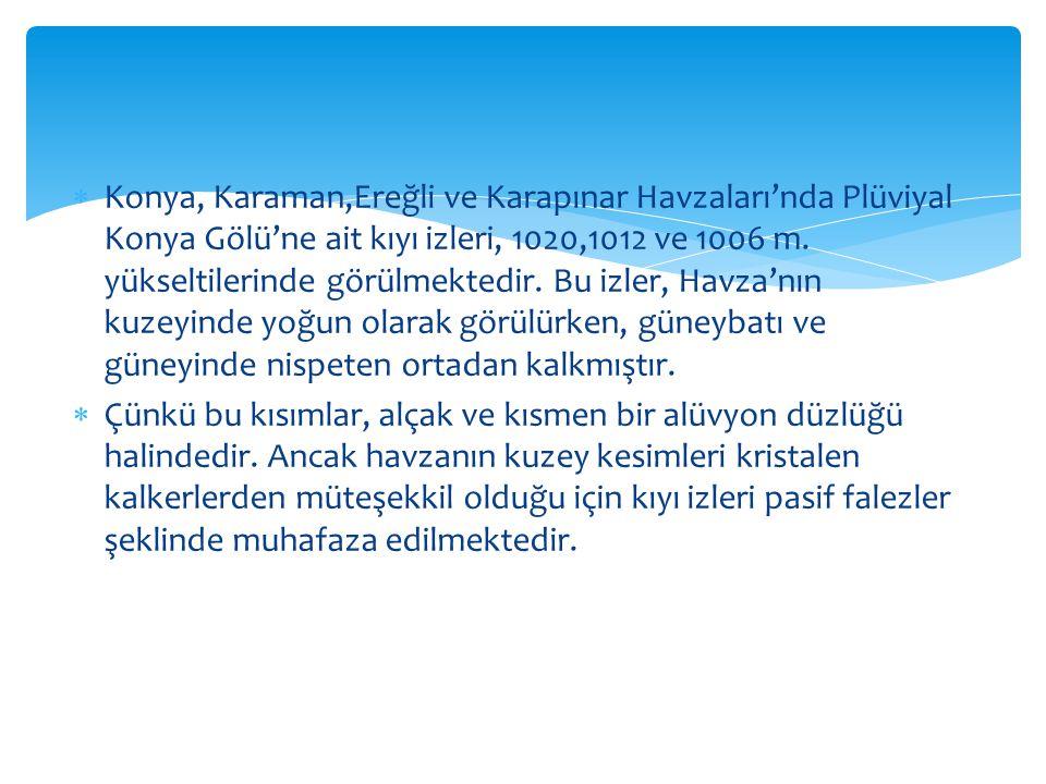  Konya, Karaman,Ereğli ve Karapınar Havzaları'nda Plüviyal Konya Gölü'ne ait kıyı izleri, 1020,1012 ve 1006 m. yükseltilerinde görülmektedir. Bu izle