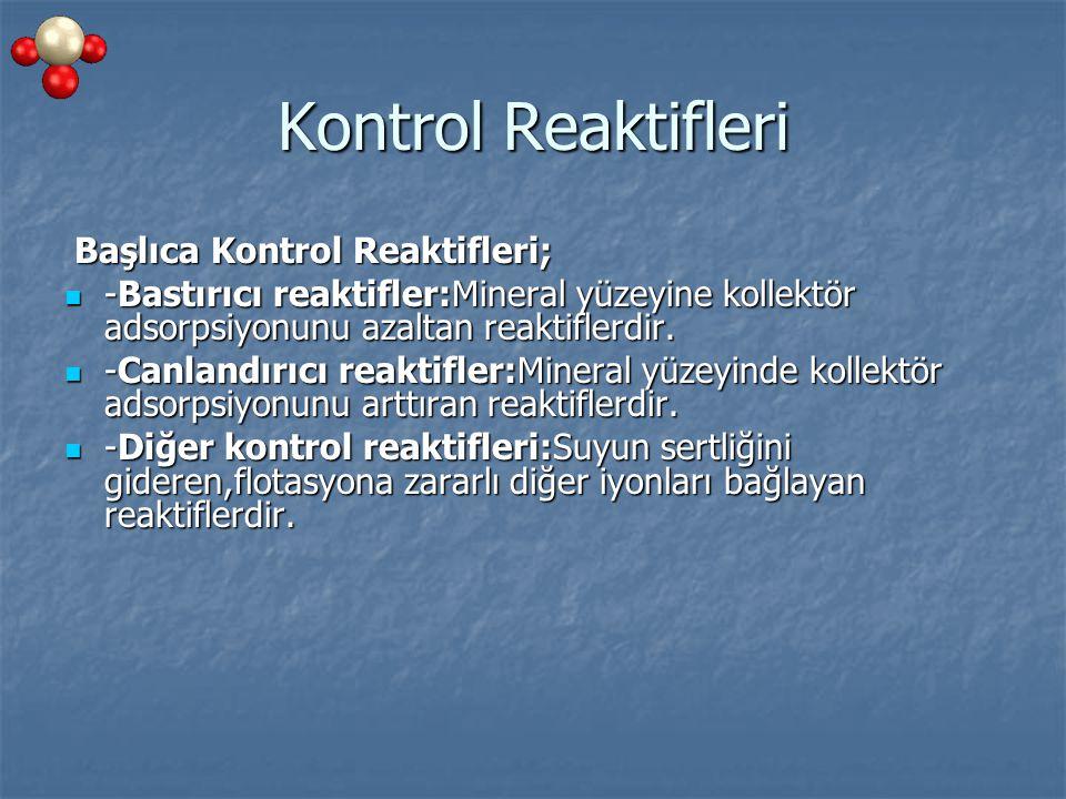 Kontrol Reaktifleri Başlıca Kontrol Reaktifleri; Başlıca Kontrol Reaktifleri; -Bastırıcı reaktifler:Mineral yüzeyine kollektör adsorpsiyonunu azaltan