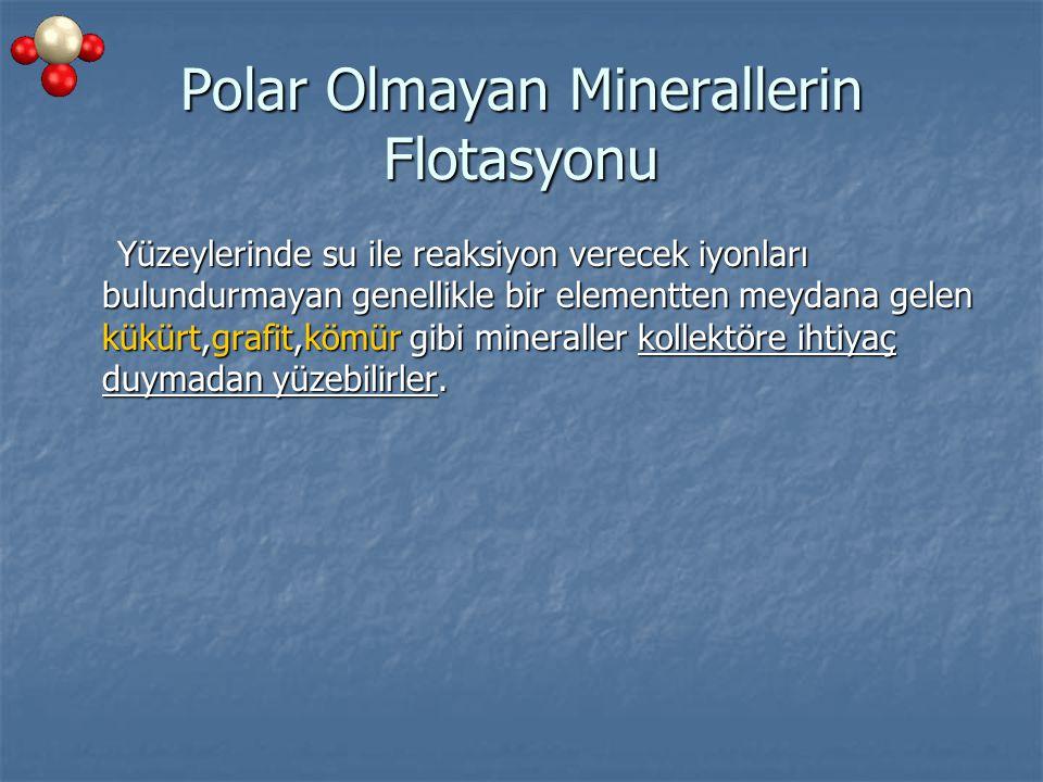 Polar Olmayan Minerallerin Flotasyonu Yüzeylerinde su ile reaksiyon verecek iyonları bulundurmayan genellikle bir elementten meydana gelen kükürt,graf