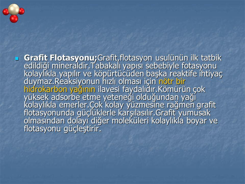 Grafit Flotasyonu;Grafit,flotasyon usulünün ilk tatbik edildiği mineraldir.Tabakalı yapısı sebebiyle fotasyonu kolaylıkla yapılır ve köpürtücüden başk
