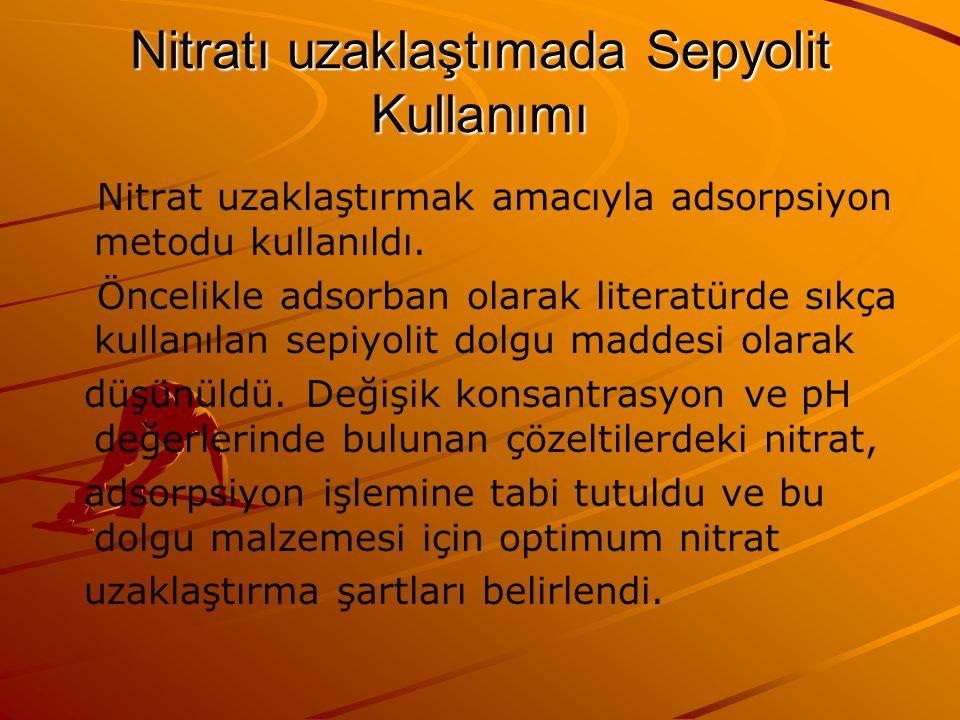 Nitratı uzaklaştımada Sepyolit Kullanımı Nitrat uzaklaştırmak amacıyla adsorpsiyon metodu kullanıldı.