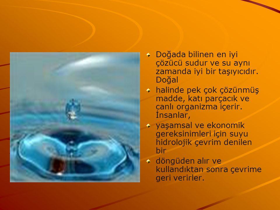 Doğada bilinen en iyi çözücü sudur ve su aynı zamanda iyi bir taşıyıcıdır.
