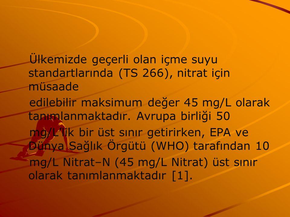 Ülkemizde geçerli olan içme suyu standartlarında (TS 266), nitrat için müsaade edilebilir maksimum değer 45 mg/L olarak tanımlanmaktadır.