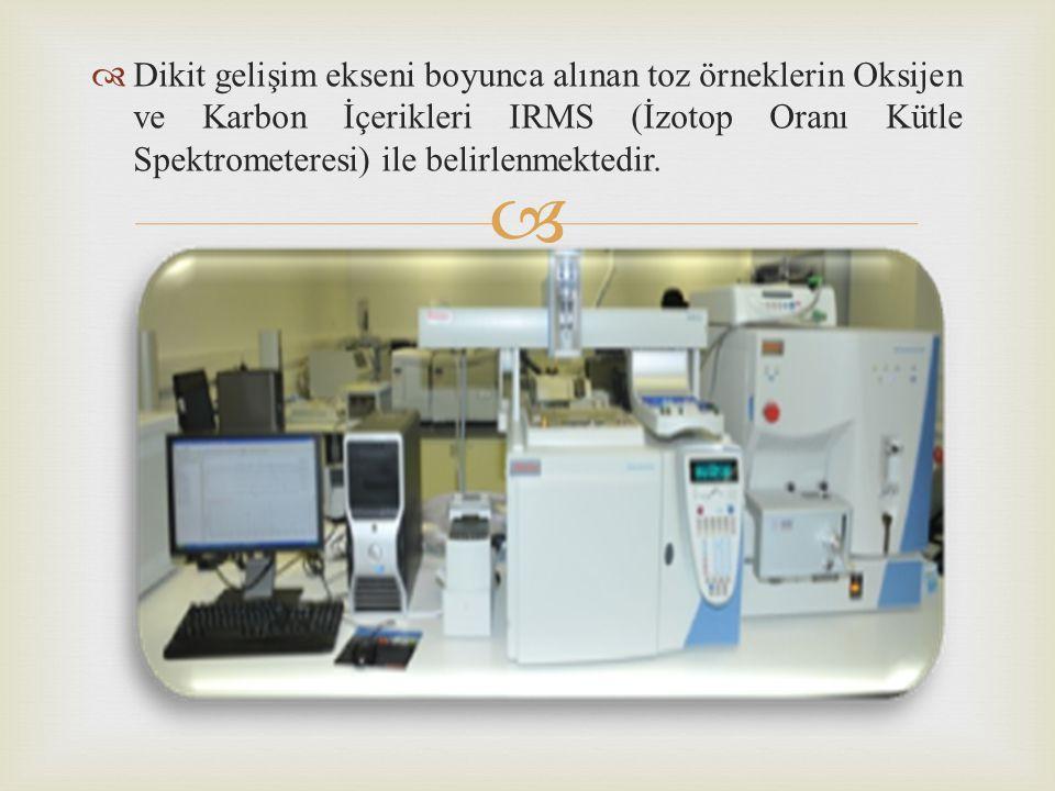   Dikit gelişim ekseni boyunca alınan toz örneklerin Oksijen ve Karbon İçerikleri IRMS (İzotop Oranı Kütle Spektrometeresi) ile belirlenmektedir.