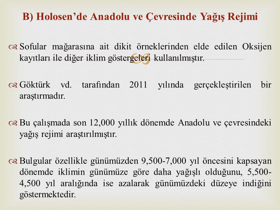  B) Holosen'de Anadolu ve Çevresinde Yağış Rejimi  Sofular mağarasına ait dikit örneklerinden elde edilen Oksijen kayıtları ile diğer iklim gösterge