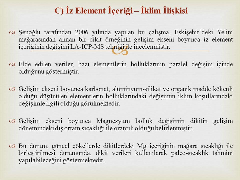  C) İz Element İçeriği – İklim İlişkisi  Şenoğlu tarafından 2006 yılında yapılan bu çalışma, Eskişehir'deki Yelini mağarasından alınan bir dikit örn