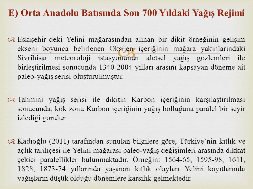  E) Orta Anadolu Batısında Son 700 Yıldaki Yağış Rejimi  Eskişehir'deki Yelini mağarasından alınan bir dikit örneğinin gelişim ekseni boyunca belirl