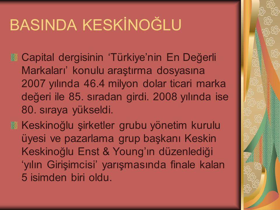 BASINDA KESKİNOĞLU Capital dergisinin 'Türkiye'nin En Değerli Markaları' konulu araştırma dosyasına 2007 yılında 46.4 milyon dolar ticari marka değeri