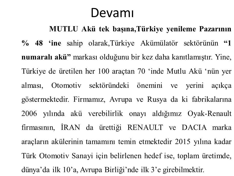 """Devamı MUTLU Akü tek başına,Türkiye yenileme Pazarının % 48 'ine sahip olarak,Türkiye Akümülatör sektörünün """"1 numaralı akü"""" markası olduğunu bir kez"""