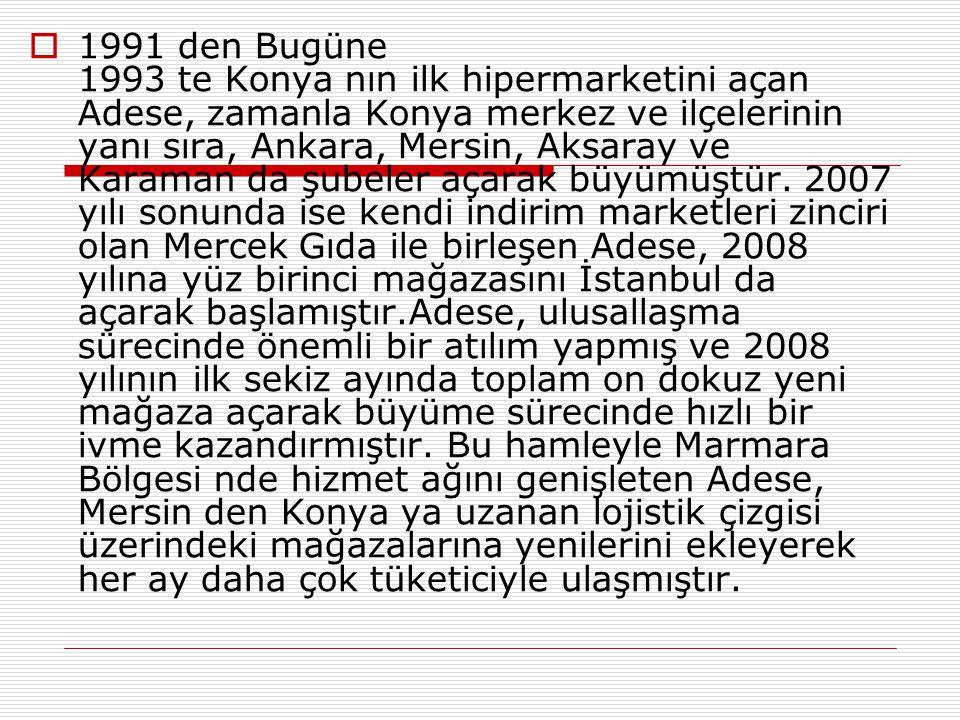  1991 den Bugüne 1993 te Konya nın ilk hipermarketini açan Adese, zamanla Konya merkez ve ilçelerinin yanı sıra, Ankara, Mersin, Aksaray ve Karaman da şubeler açarak büyümüştür.