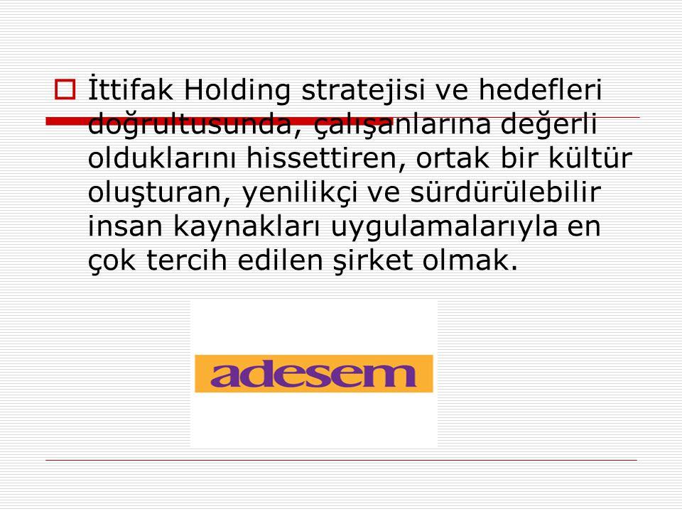  İttifak Holding stratejisi ve hedefleri doğrultusunda, çalışanlarına değerli olduklarını hissettiren, ortak bir kültür oluşturan, yenilikçi ve sürdürülebilir insan kaynakları uygulamalarıyla en çok tercih edilen şirket olmak.