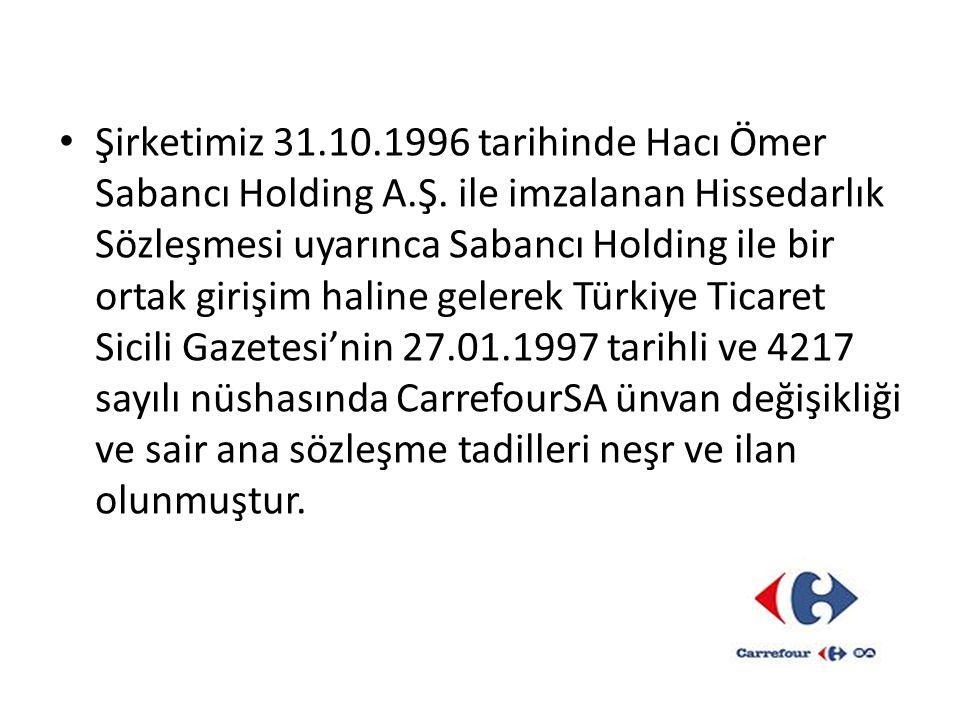 Şirketimiz 31.10.1996 tarihinde Hacı Ömer Sabancı Holding A.Ş. ile imzalanan Hissedarlık Sözleşmesi uyarınca Sabancı Holding ile bir ortak girişim hal