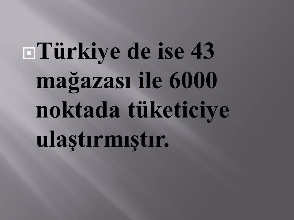  Türkiye de ise 43 mağazası ile 6000 noktada tüketiciye ulaştırmıştır.
