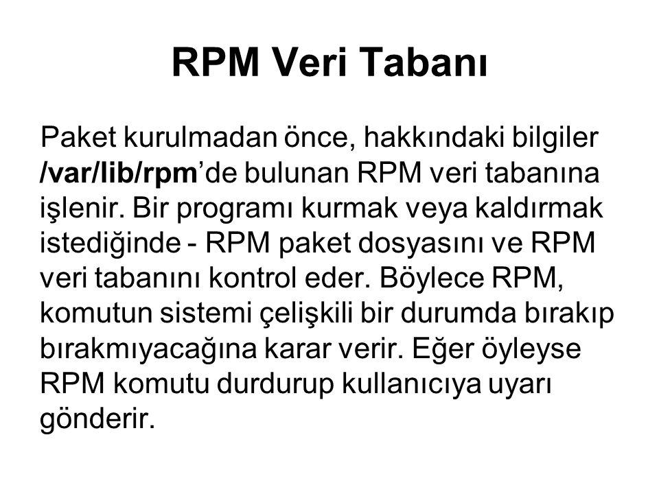 RPM Veri Tabanı Paket kurulmadan önce, hakkındaki bilgiler /var/lib/rpm'de bulunan RPM veri tabanına işlenir. Bir programı kurmak veya kaldırmak isted