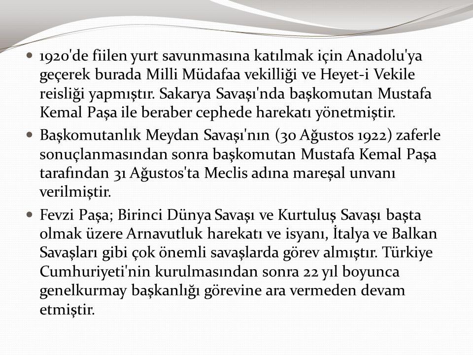 1920'de fiilen yurt savunmasına katılmak için Anadolu'ya geçerek burada Milli Müdafaa vekilliği ve Heyet-i Vekile reisliği yapmıştır. Sakarya Savaşı'n