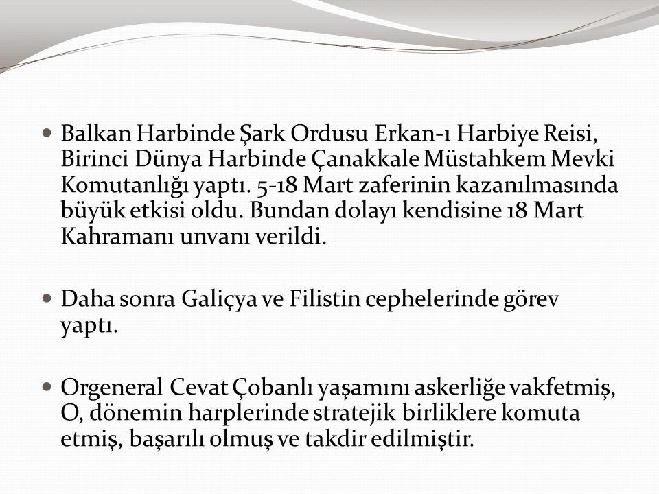 Balkan Harbinde Şark Ordusu Erkan-ı Harbiye Reisi, Birinci Dünya Harbinde Çanakkale Müstahkem Mevki Komutanlığı yaptı. 5-18 Mart zaferinin kazanılması