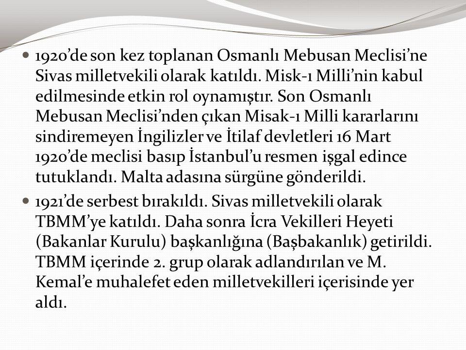 1920'de son kez toplanan Osmanlı Mebusan Meclisi'ne Sivas milletvekili olarak katıldı. Misk-ı Milli'nin kabul edilmesinde etkin rol oynamıştır. Son Os