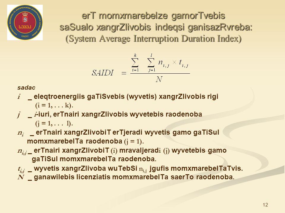 12 erT momxmarebelze gamorTvebis saSualo xangrZlivobis indeqsi ganisazRvreba: (System Average Interruption Duration Index) sadac i _ eleqtroenergiis gaTiSvebis (wyvetis) xangrZlivobis rigi (i = 1,...