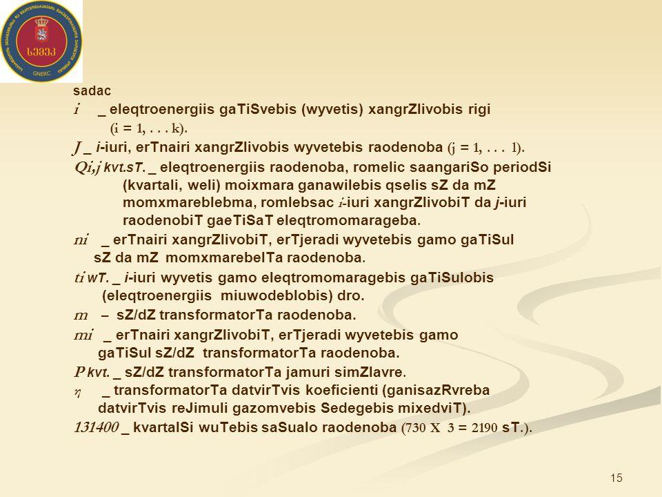 15 sadac i _ eleqtroenergiis gaTiSvebis (wyvetis) xangrZlivobis rigi (i = 1,...
