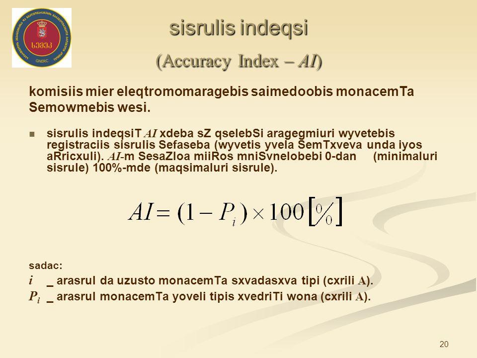 20 sisrulis indeqsi (Accuracy Index – AI) komisiis mier eleqtromomaragebis saimedoobis monacemTa Semowmebis wesi. sisrulis indeqsiT AI xdeba sZ qseleb