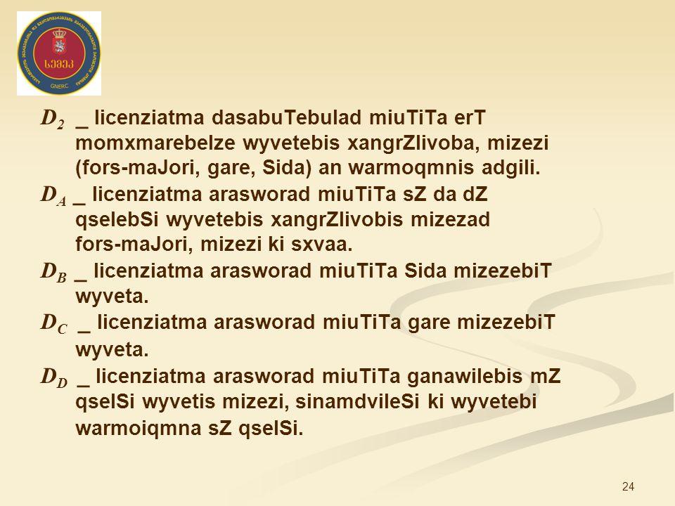 24 D 2 _ licenziatma dasabuTebulad miuTiTa erT momxmarebelze wyvetebis xangrZlivoba, mizezi (fors-maJori, gare, Sida) an warmoqmnis adgili.