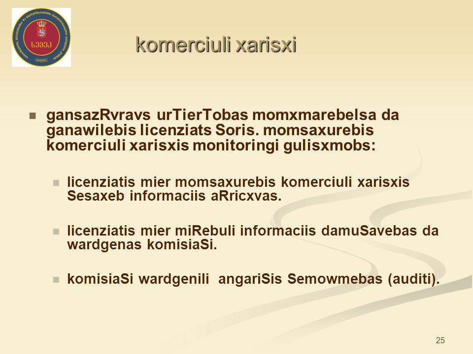 25 komerciuli xarisxi gansazRvravs urTierTobas momxmarebelsa da ganawilebis licenziats Soris. momsaxurebis komerciuli xarisxis monitoringi gulisxmobs: