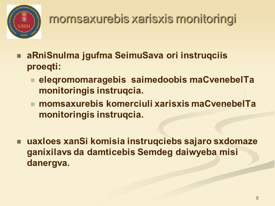 8 momsaxurebis xarisxis monitoringi momsaxurebis xarisxis monitoringi aRniSnulma jgufma SeimuSava ori instruqciis proeqti: eleqromomaragebis saimedoob