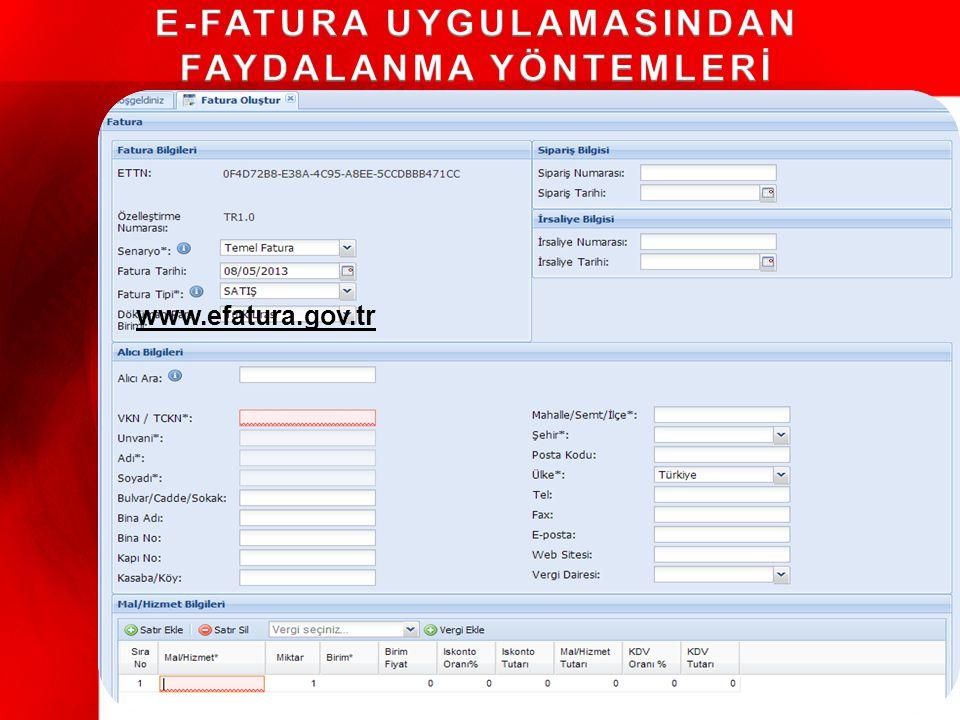 Web uygulaması Temel fonksiyonlar E-imza/mali mühür Gönderme ve Alma Arşivleme KOBİ'ler için uygun 1 Portal Mali Mühür GİRİŞ E-FATURA PORTALI Entegrasyon 2 Gelişmiş bilgi işlem sistemi Doğrudan bağlantı E-imza/mali mühür Arşivleme Büyük işletmeler için uygun Özel Entegratör Özel Entegratör 3 Özel Entegrasyon Başkanlıktan onay almış 3.taraflar(özel entegratörler) Özel entegratörler aracılığıyla fatura değişimi Özel entegratörün mükellef adına imzalayabilmesi Tüm mükellefler için uygun www.efatura.gov.tr