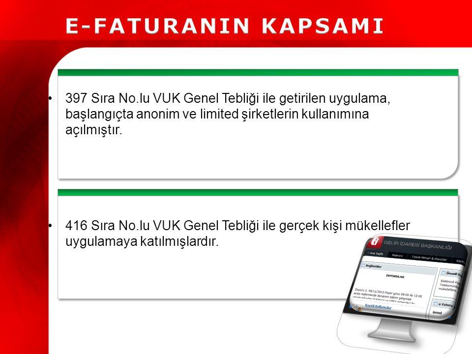 397 Sıra No.lu VUK Genel Tebliği ile getirilen uygulama, başlangıçta anonim ve limited şirketlerin kullanımına açılmıştır.