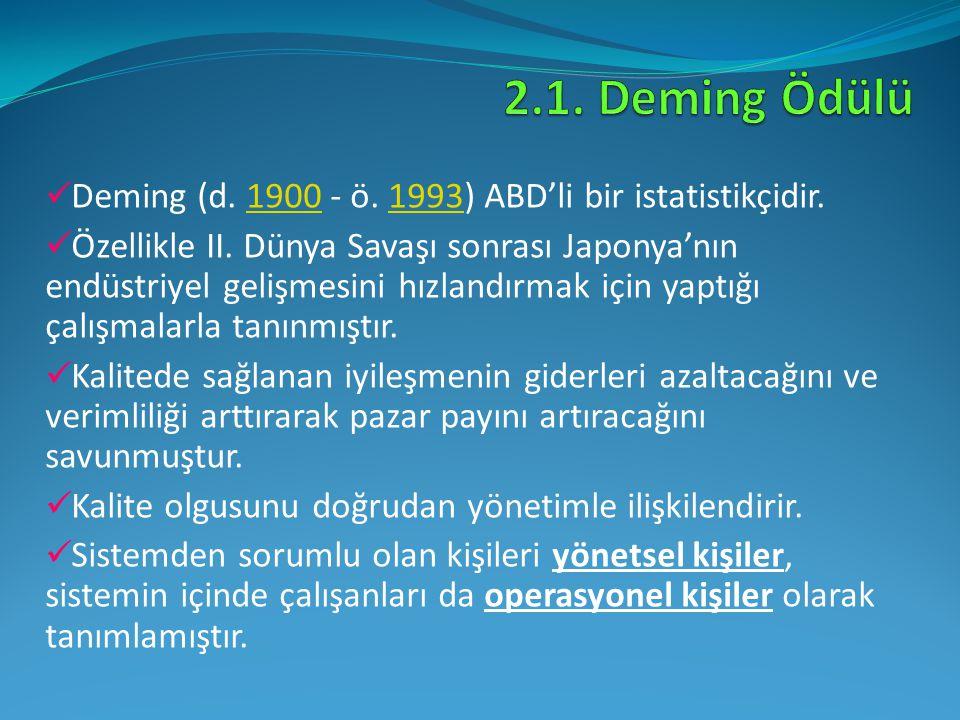 Deming (d. 1900 - ö. 1993) ABD'li bir istatistikçidir.19001993 Özellikle II. Dünya Savaşı sonrası Japonya'nın endüstriyel gelişmesini hızlandırmak içi