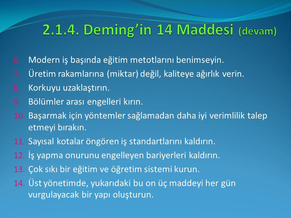 6. Modern iş başında eğitim metotlarını benimseyin. 7. Üretim rakamlarına (miktar) değil, kaliteye ağırlık verin. 8. Korkuyu uzaklaştırın. 9. Bölümler