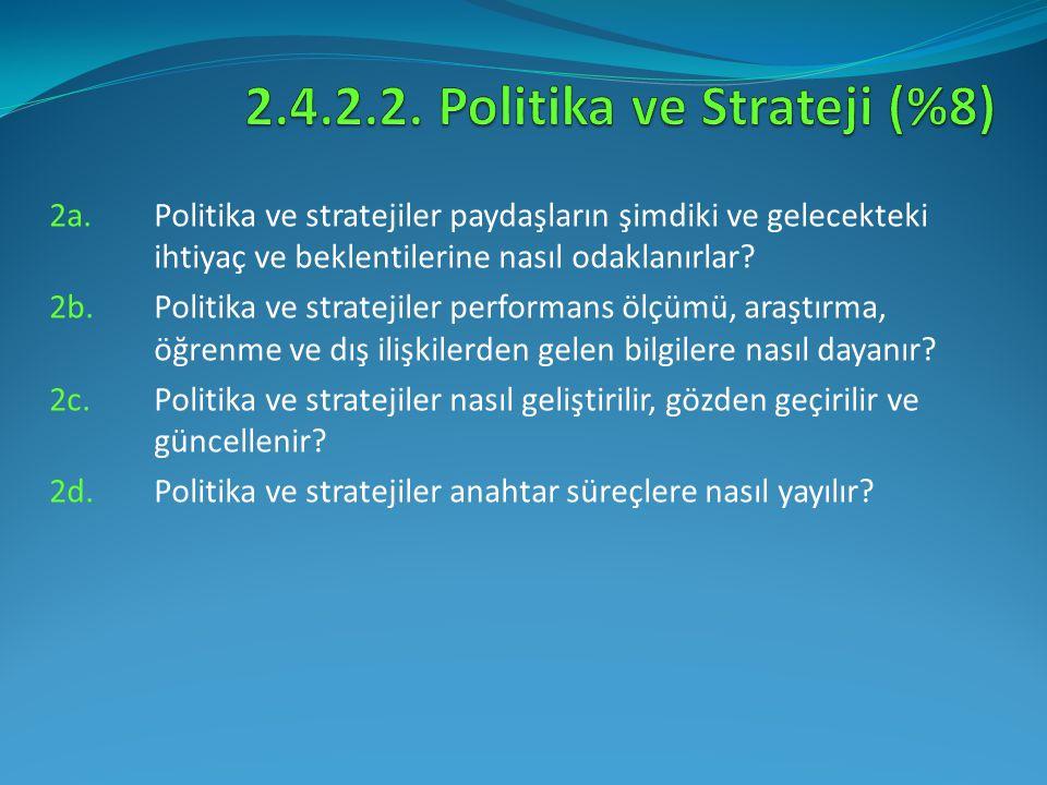 2a.Politika ve stratejiler paydaşların şimdiki ve gelecekteki ihtiyaç ve beklentilerine nasıl odaklanırlar? 2b. Politika ve stratejiler performans ölç