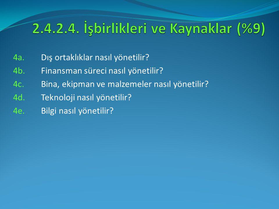 4a.Dış ortaklıklar nasıl yönetilir? 4b. Finansman süreci nasıl yönetilir? 4c. Bina, ekipman ve malzemeler nasıl yönetilir? 4d. Teknoloji nasıl yönetil